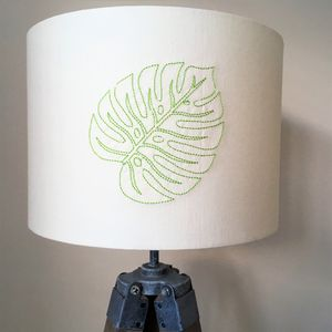 Tropical Leaf Embroidered Lampshade