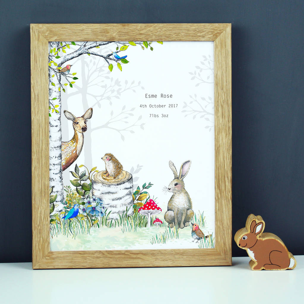 Personalised Woodland Animals Nursery Print By Charlotte