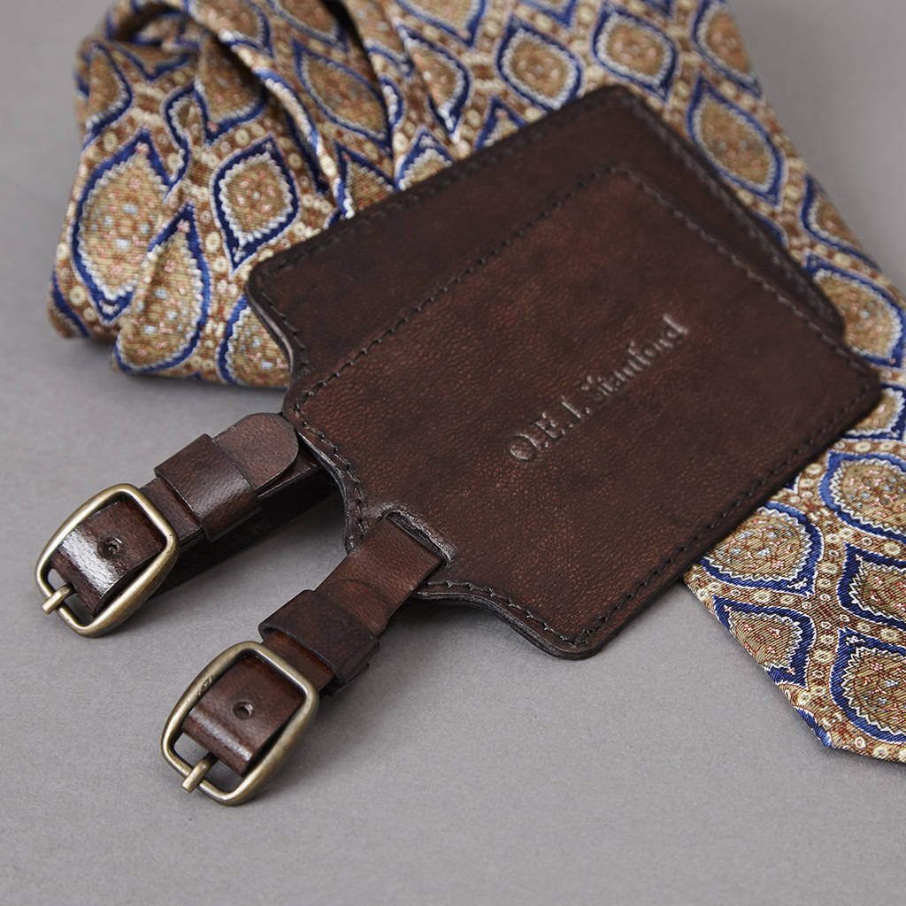personalised leather luggage tag by life of riley ... 600d375c0
