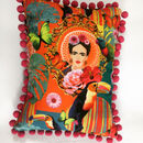Frida Cushion With Pom Poms