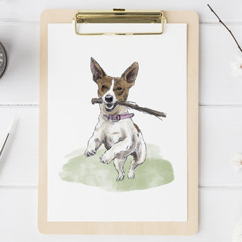 Watercolour Pet Portrait from photo of a jack Russell dog holding a stick