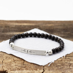 Personalised Men's Silver And Wood Beaded Bracelet