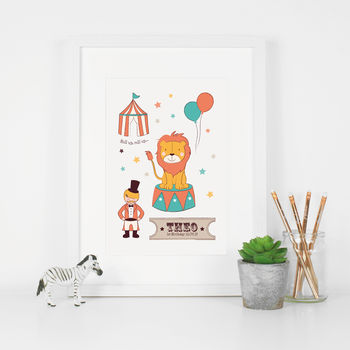 Personalised Circus Birth Date Nursery Print