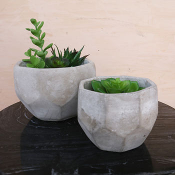 Set Of Geometric Concrete Planters