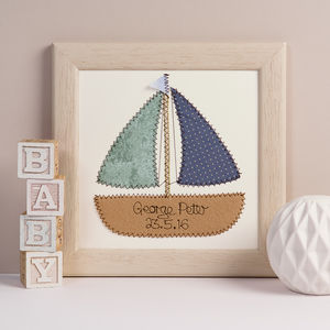 Personalised Boat Embroidered Framed Artwork - nursery pictures & prints