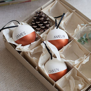 Copper And White Personalised Name Bauble - baubles & hanging decorations