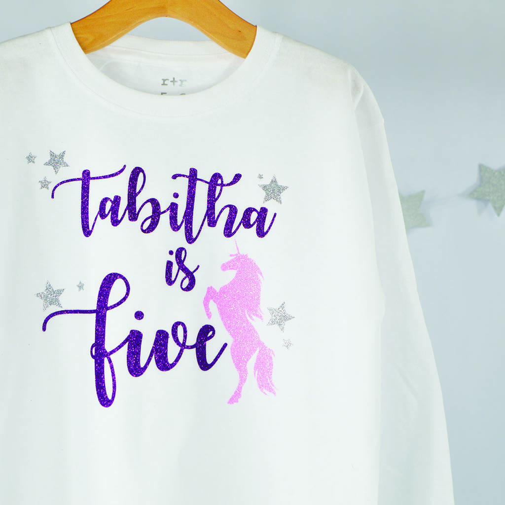 Personalised Unicorn Birthday Sparkle T Shirt