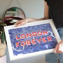 Risograph Typography Travel Map Print, Unframed