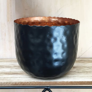 Hammered Black And Copper Planter