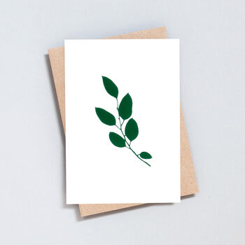 Luxury Eucalyptus Print Card In Ivory/Green