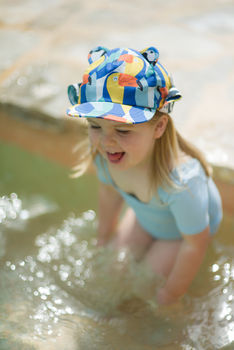 Children's Sun Hat With Neck Flap In Blue Toucan Print