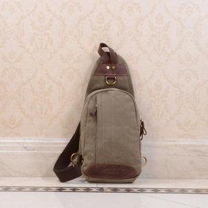 Canvas And Leather Sling Bag Backpack