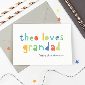 Personalised 'Loves Grandad' Card - father's day cards