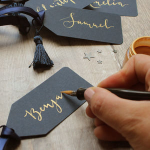 Gold And Navy Calligraphy Christmas Gift Tags - gift tags & labels