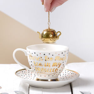 Prosecco Tea Cup Set With Infuser - tableware