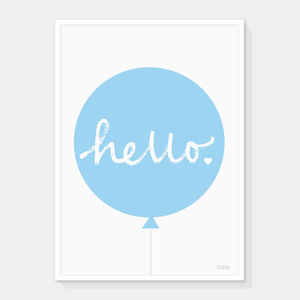 'Hello' Balloon Print Many Colours - vibrant blues
