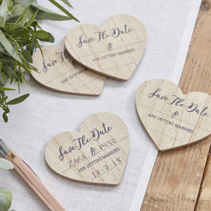 Save The Date Heart Shaped Wooden Magnets - reply & rsvp cards
