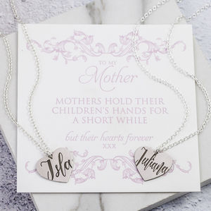 Personalised Mother And Daughter Necklace Set