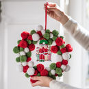 Pom Pom Wreath With Personalised Family Decoration
