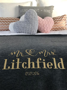Mr And Mrs Wedding Day Heart Bed Blanket - blankets & throws