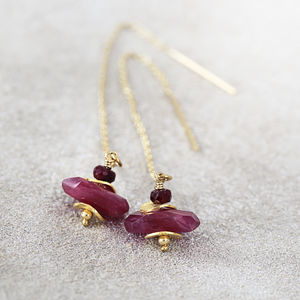 Ruby Threader Earrings