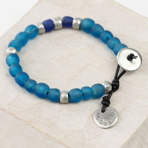 Personalised Leather And Handmade Bead Bracelet - bracelets & bangles