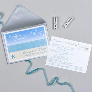 Beach Postcard Wedding Invitation