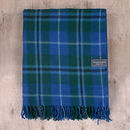 Personalised Recycled Wool Blanket In Douglas Tartan