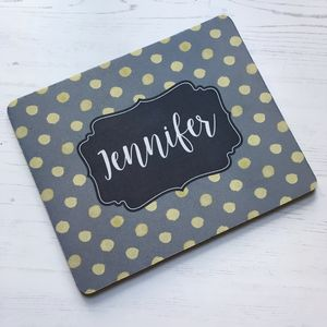 Personalised Watercolour Dots Mouse Mat