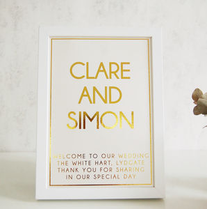 Gold Foil Wedding Sign Couples Names - new in wedding styling