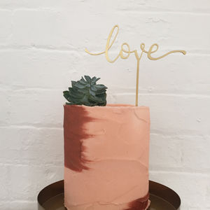 Modern Calligraphy 'Love' Cake Topper - table decorations