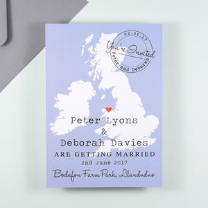 Location Map Wedding Invitation Coloured Ground - wedding stationery