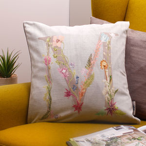 Personalised Floral Letter Sofa Cushion Gift For Her - bedroom