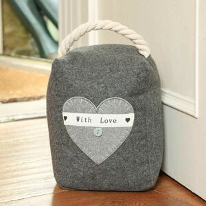 Embroidered Heart Fabric Door Stop