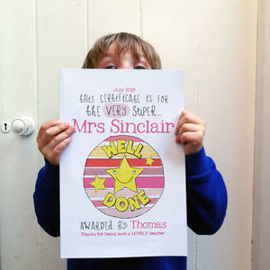 Personalised Super Teacher Certificate - new in prints & art