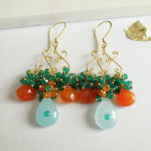 Onyx Emerald Carnelian Cluster Gold Earrings