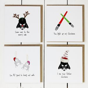 Pack Of Four Star Wars Christmas Cards P1