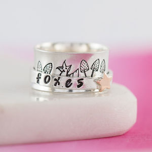Personalised Sterling Silver Starry Foxes Spinner Ring