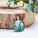 Midnight Botanical Sterling Silver Pendant Necklace