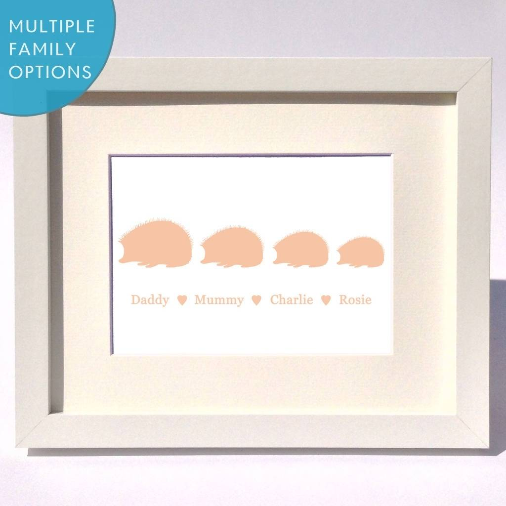Personalised Hedgehog Family Print Gift
