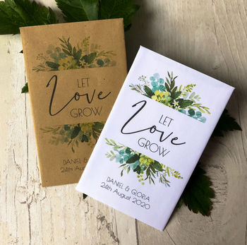 Set Of 20 Foliage Style 'Let Love' Wedding Seed Packets