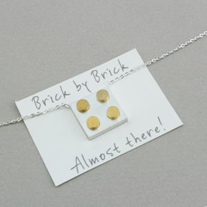 Silver And Gold Building Brick Necklace