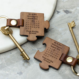 Personalised Wooden Wedding Keyring Set - for the couple