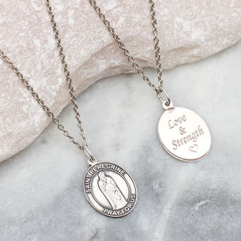 Personalised Sterling Silver St Peregrine Necklace