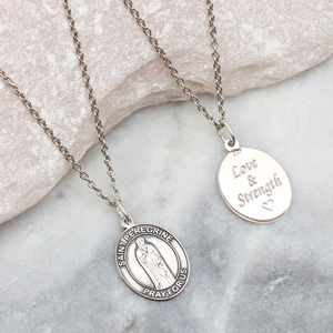 Personalised Sterling Silver St Peregrine Necklace - necklaces