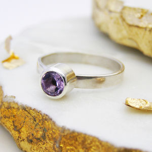 Personalised Amethyst Stacking Ring - rings