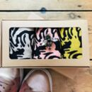 Tiger Sock Box With A Sparkly Bee Pin