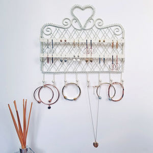White Decorative Jewellery Wall Hanger Organiser