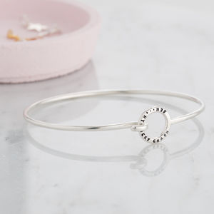 Personalised Mini Circle Charm Bangle - birthday gifts