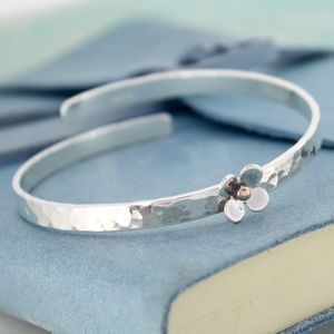 Personalised Crossover Bangle With Silver Daisy - bracelets & bangles